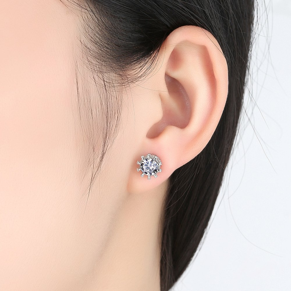 LXLP 925 Round Crown Shape Stud Earrings for Teens/&Women and Girls 6mm