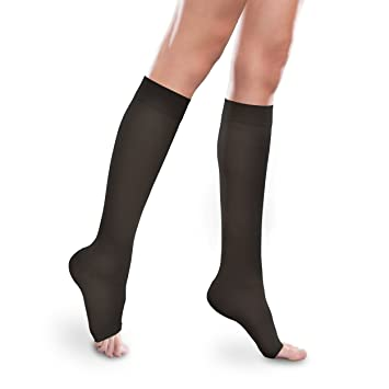 9fbaf2c58 Sheer Ease Women s Open-Toe Knee High Stockings - 15-20mmHg Mild  Compression Nylons