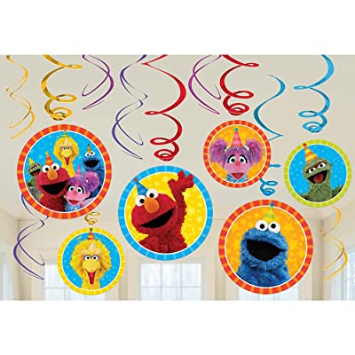 Sesame Street Elmo Dangling Swirl Decorations Birthday Party Supplies Favor Pack by Disney: Toys & Games