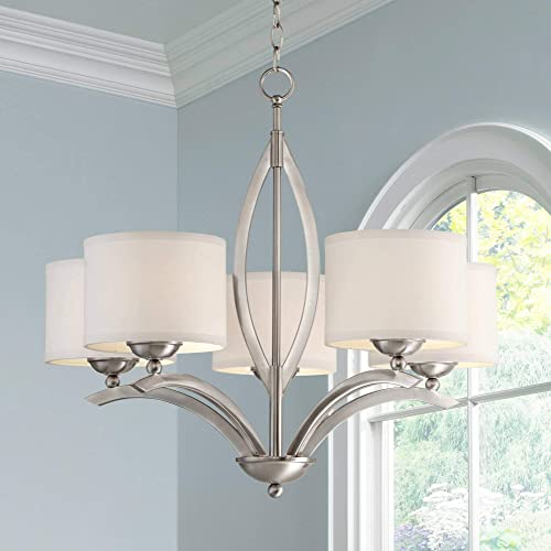 Ariano Brushed Nickel Chandelier 27 1 4 Wide Modern White Linen Drum Shades 5-Light Fixture for Dining Room House Foyer Kitchen Island Entryway Bedroom Living Room – Possini Euro Design