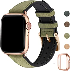 WFEAGL Compatible with Apple Watch Band 42mm 44mm, Waterproof Hybrid Genuine Leather Silicone Sweatproof Strap for iWatch SE & Series 6 5 4 3 2 1 Nike+ Sports Edition (Olive Band+RoseGold Connector)