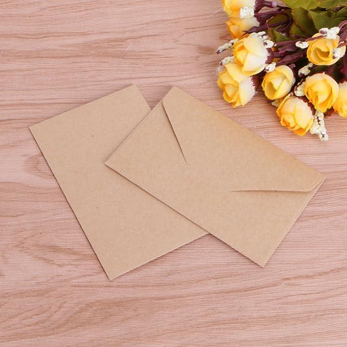 Mentin 50pcs Mini Enveloppes Kraft De Cartes Cadeaux Carte Visite Mariage