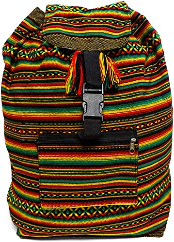 Large Rasta Peruvian Multicolored Bohemian Tribal Print Pattern Lightweight Beach Travel Backpack Bag Stripes