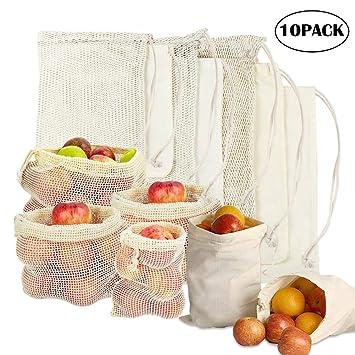 10 Piezas Bolsas Fruta Reutilizables Ecológicas Bolsa de Malla con Costuras Dobles ,para Almacenamiento Fruta Verduras Juguetes Lavable y ...