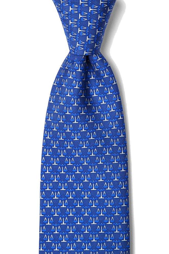 100% Silk Blue Law Legal Scales of Justice Lawyer Neck Tie Necktie Neckwear