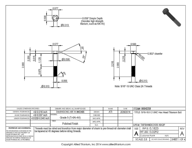 608387001 Pack of 5 5//16-18 X 2 UNC Titanium Hex Head Bolt Grade 5 Ti-6Al-4V Inc Allied Titanium 0004259,