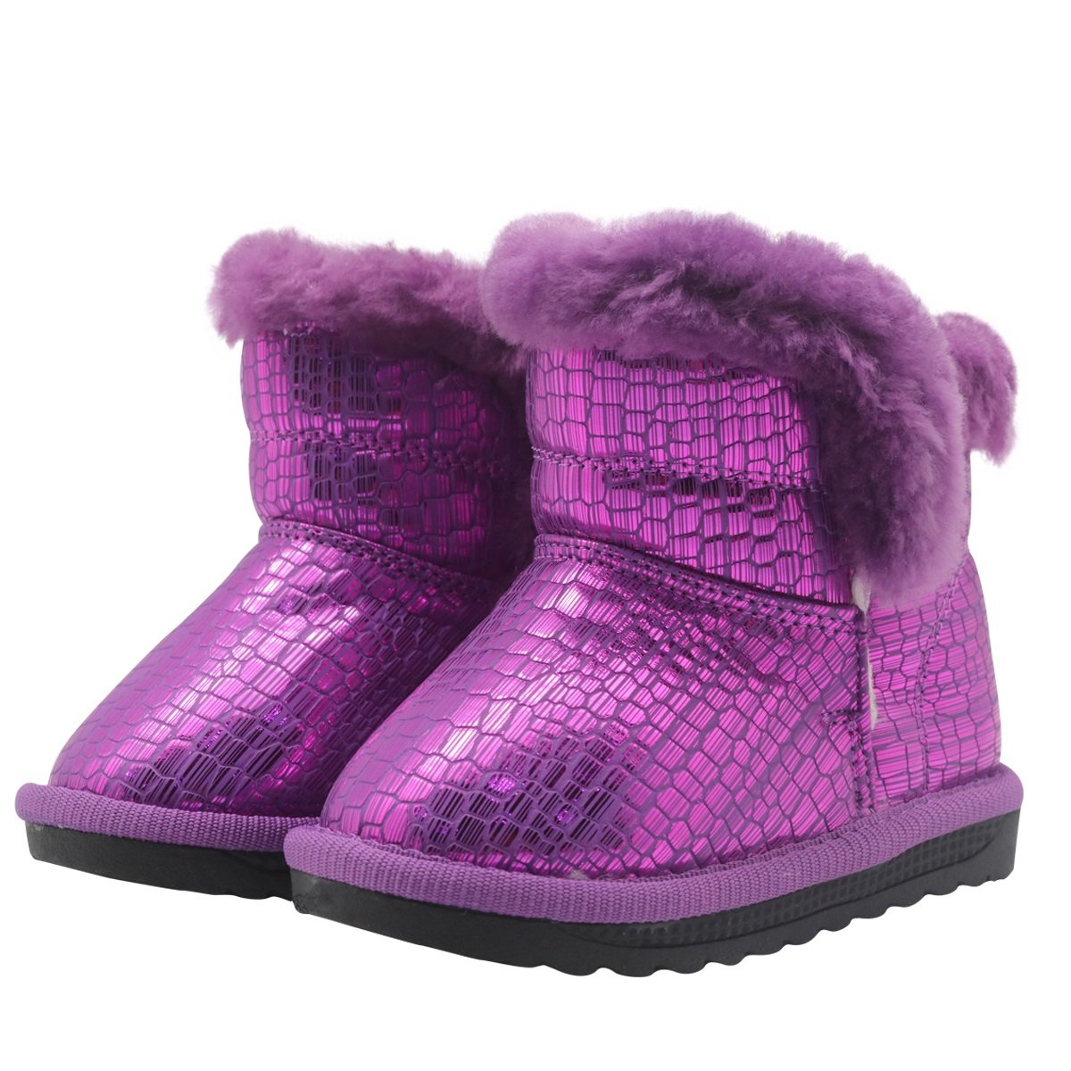 Non-Slip Toddler Shoes Girls Warm Winter Flat Shoes Fur Snow Boots with Woolen Lining Durable Color : Purple , Size : 9 M US Toddler