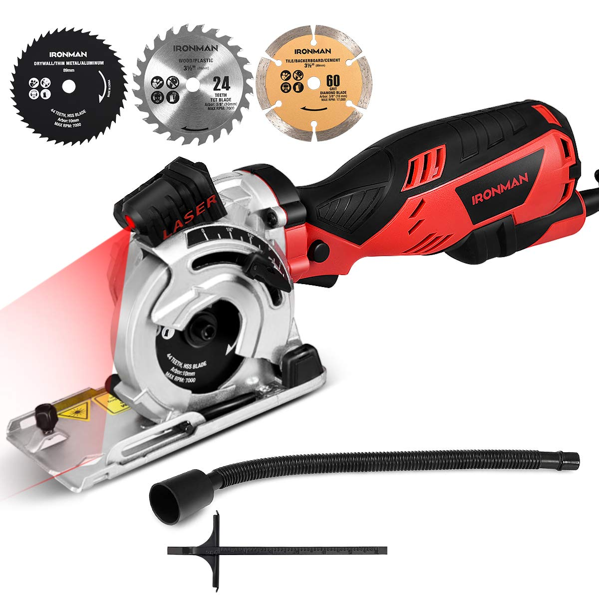 Goplus Circular Saw, 5.8 Amp 705W Equivalent 7.5A 900W 4500RPM Mini Circular Saw, Max Cutting Depth 1-1 8 Compact Saw with Laser Guide and 3-Blade Kit, Ideal for Wood, Metal,Tile and Plastic Cuts