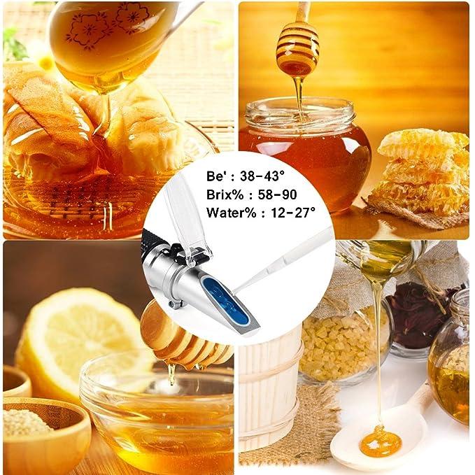 apicultores refractómetro de miel 58-90% Brix 38-43 Baume 12-27% de azúcar agua ATC Versátil Portátil de húmeda para apicultores de miel aceites vegetales ...