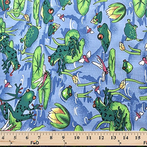 Polyester Broadcloth - Frog Pond Blue Print Fabric Cotton Polyester Broadcloth By The Yard 60