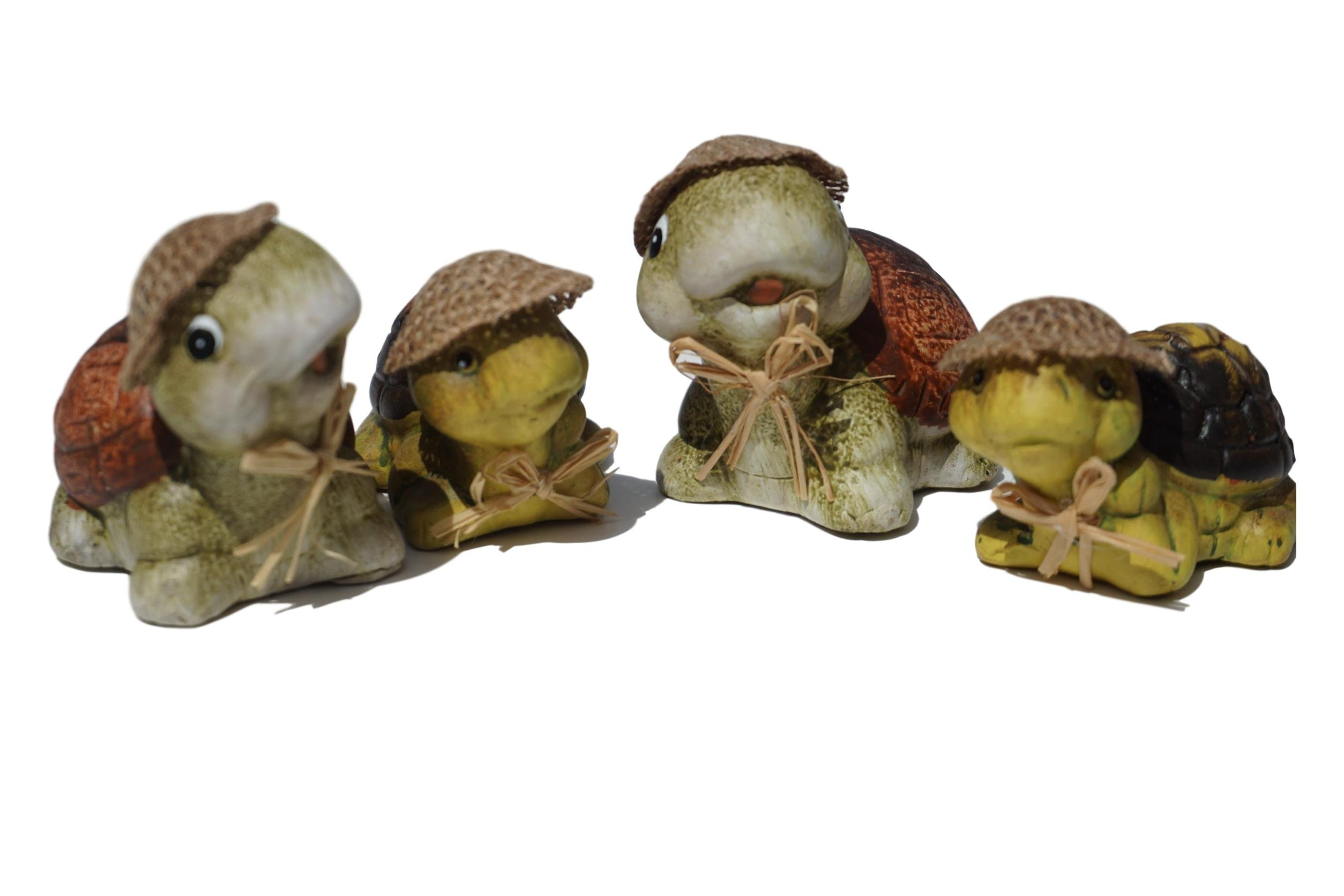 Bonita Home By Essential Happy Miniature Ceramic Turtle Family set of Four
