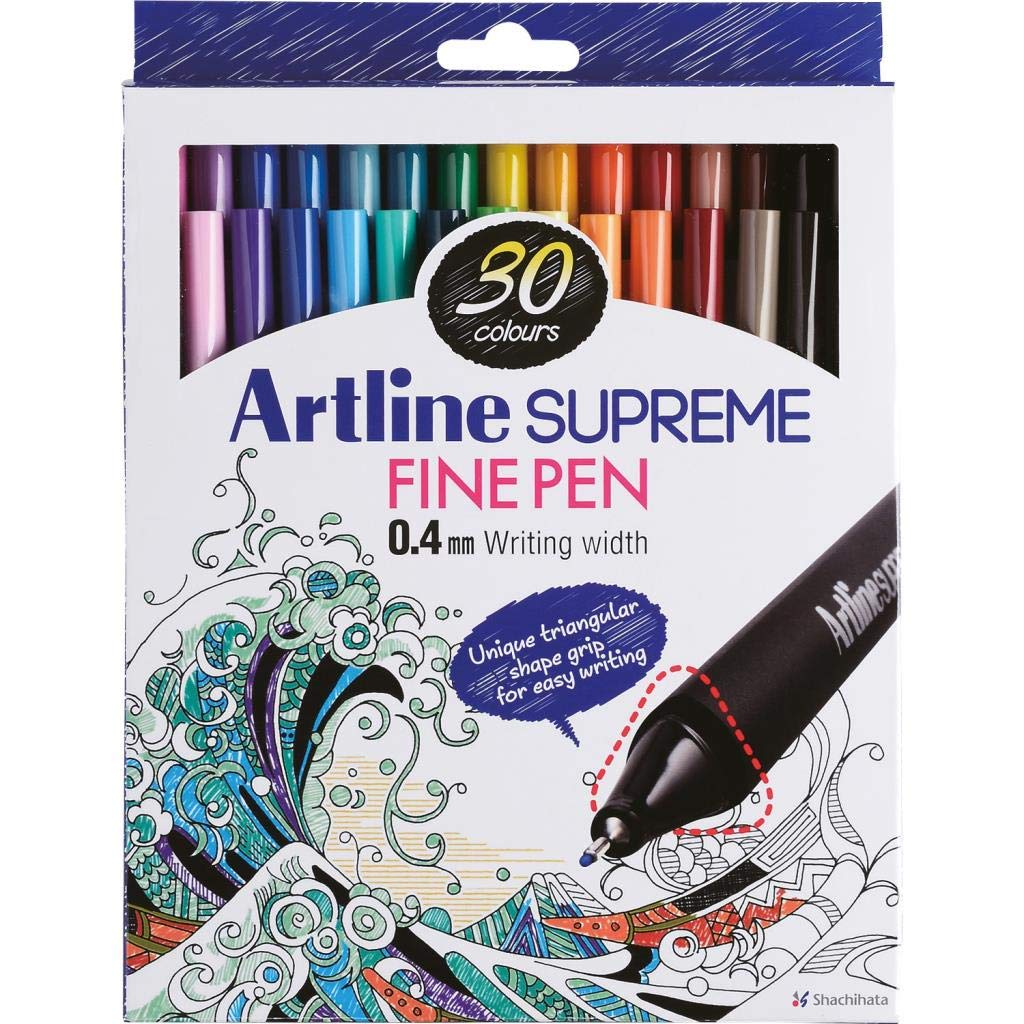 Artline 'Supreme Fine Pen' Fineliner Pens 0.4mm - Bright Vivid Colors For Technical Drawing - Pack 30