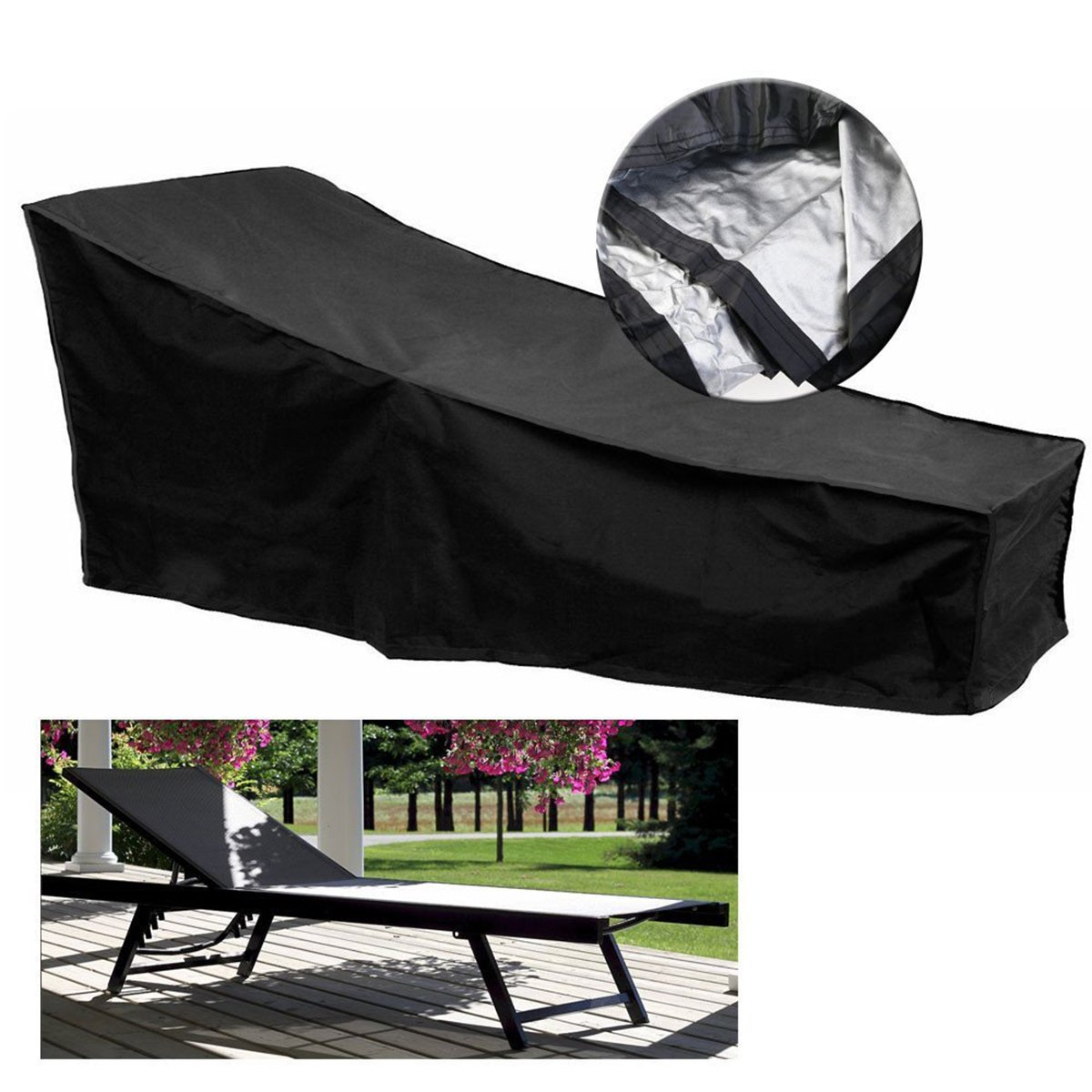 dDanke copertura per mobili da giardino esterno sdraio pieghevole patio copertura impermeabile chaise lounge cover 210*75*40cm (nero)
