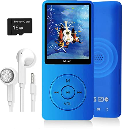 MP3 Player FM Radio Photo Viewer Ultra Slim Music Player with Build-in Speaker Supports up to 128GB Video Play Voice Recorder E-Book Reader Dyzeryk Music Player with 16GB Micro SD Card