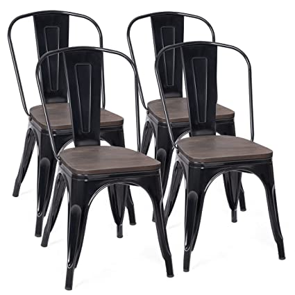 COSTWAY Tolix Style Dining Chairs Industrial Metal Stackable Cafe Side Chair w/Wood Seat Set  sc 1 st  Amazon.com & Amazon.com - COSTWAY Tolix Style Dining Chairs Industrial Metal ...