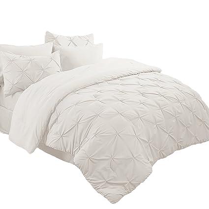 Amazon Com Bedsure 6 Piece Comforter Set Twin Size 68 X88 Solid
