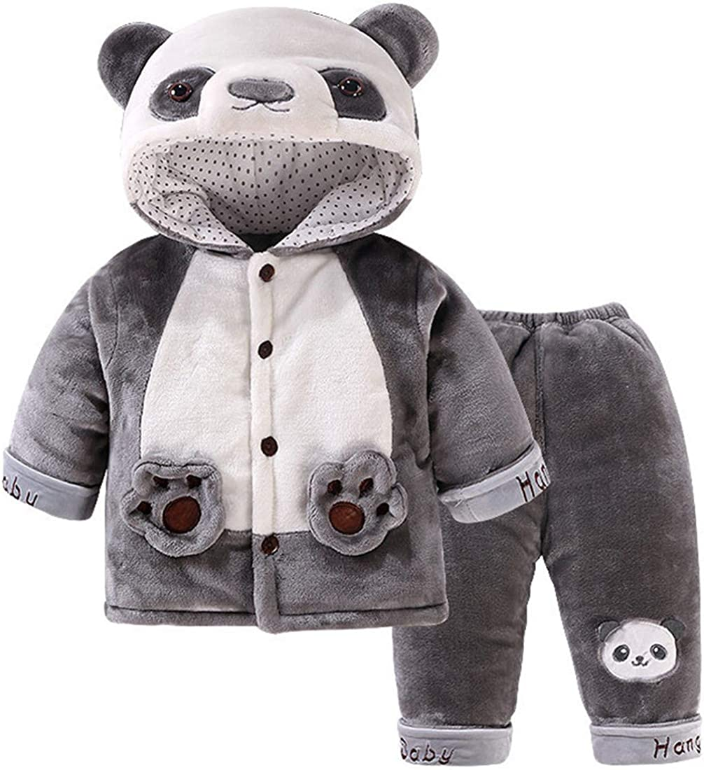 2 Pcs Baby Toddlers Kids Soft Winter Warm Cartoon Fox Panda Long Sleeve Hooded Snowsuit Jacket with Pant Outfit Set