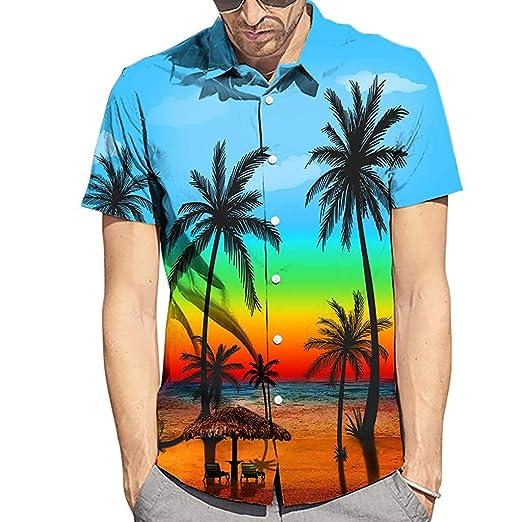 Men's Summer Coconut Tree Shirts - Hawaiian Style Short