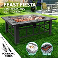 Grillz Portable Folding Fire Pit and BBQ Grill, Black