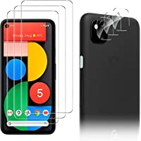 Luibor for Google Pixel 5 Screen Protector[3 Pack]+ for Google Pixel 5 Camera Lens Protector [3 Pack], Anti-fingerprint…
