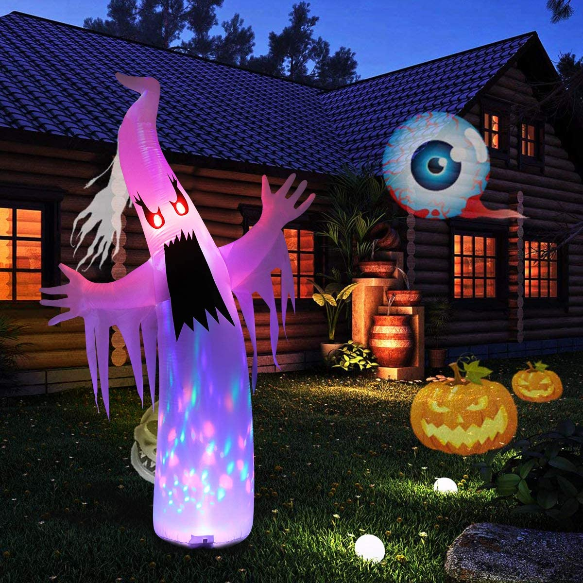 Inflatable Halloween Ghost with Build-in Colorful LED Lights for Party Holiday Halloween Decoration Outdoor Ghost Halloween