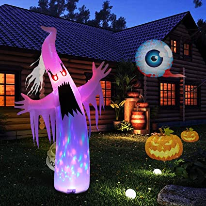 yunlights halloween decorations 8ft inflatable ghost decor built in led lights with anchoring stakes for