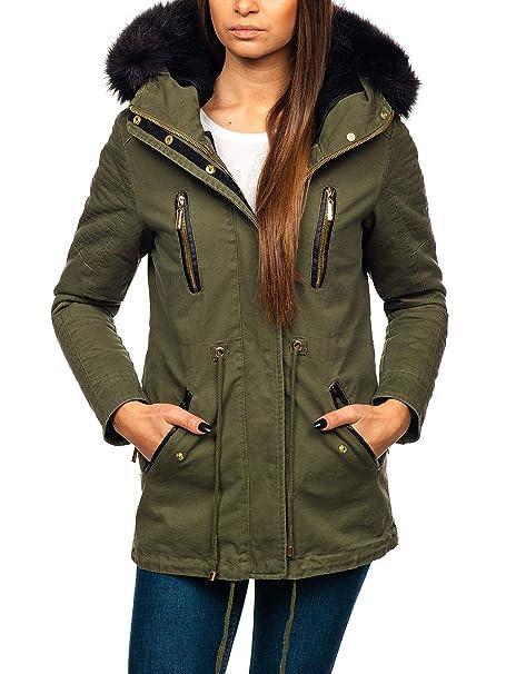 BOLF Damen Winterjacke Parka Jacke Reißverschluss Zip Kapuze Casual Style  D4D  Amazon.de  Bekleidung 83df8c4f28