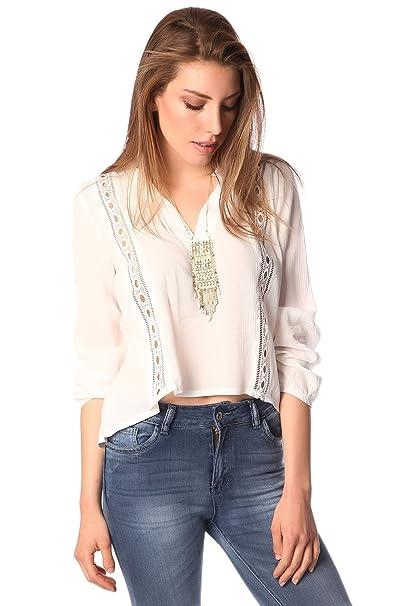 Q2 Mujer Blusa blanco de pico con aplicacion de crochet - S - Blanco