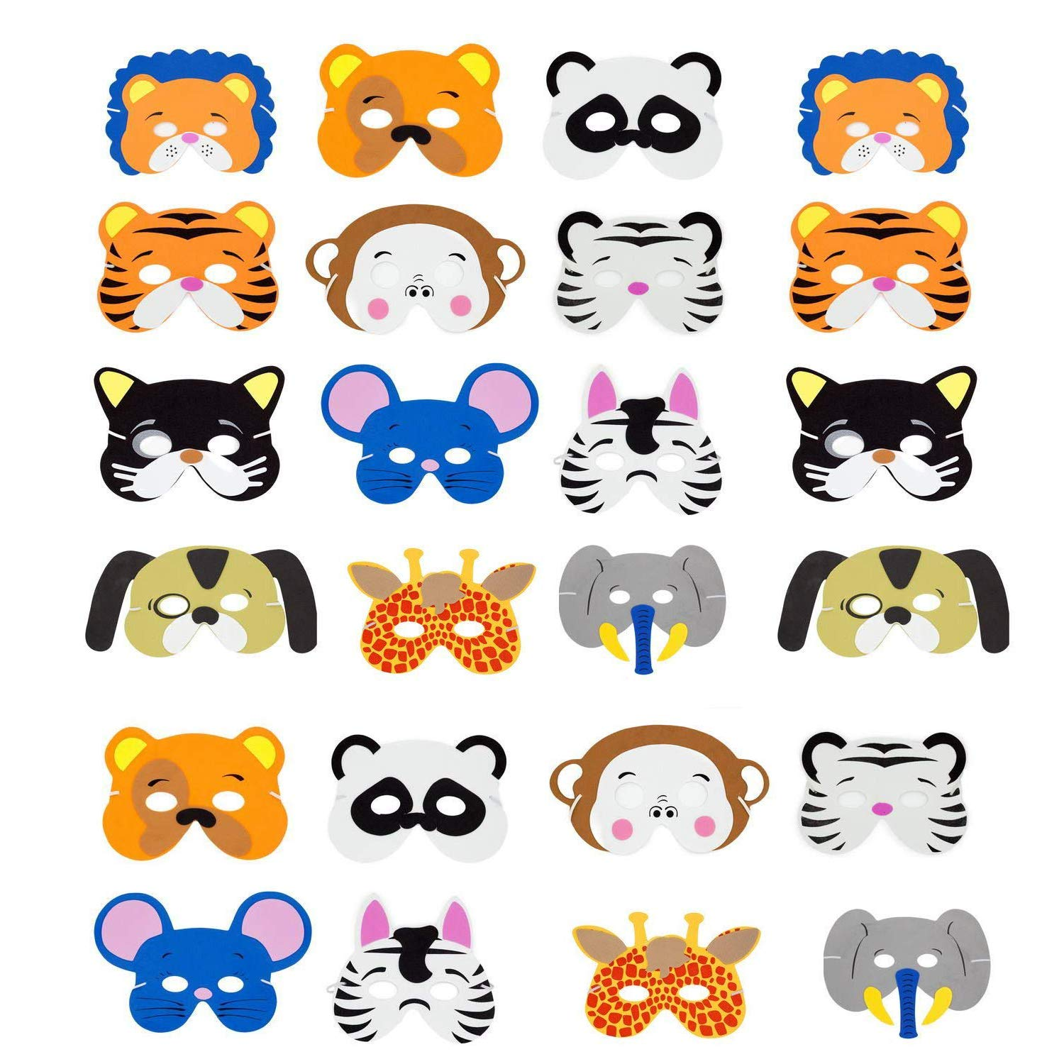 INTVN NTVN Animal Masks Eva Cartoon Masks Halloween Masks Craft Kits, 24 Pieces