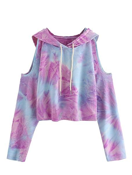 da2ed8b44edab SweatyRocks Women s Cold Shoulder Tie Dye Pullover Hoodie Crop Top  Sweatshirt XS