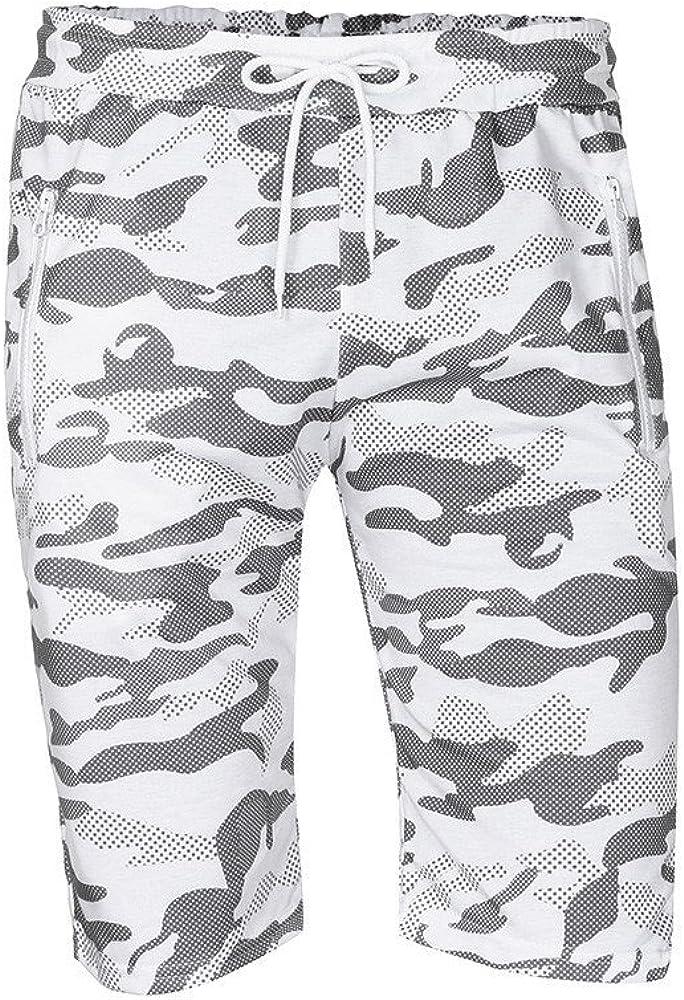 Sruiluo Mens Pants Summer Casual Comouflage Elastic Waist Cargo Shorts Pants