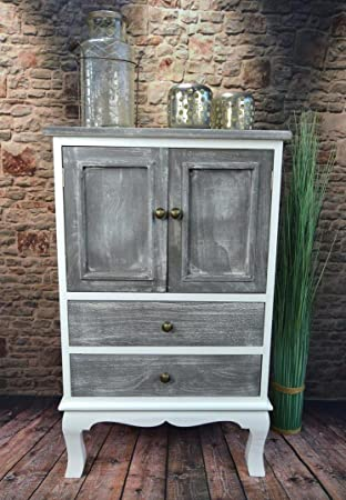 Livitat® Kommode Schrank Landhaus Shabby Chic Vintage barock Grau ...