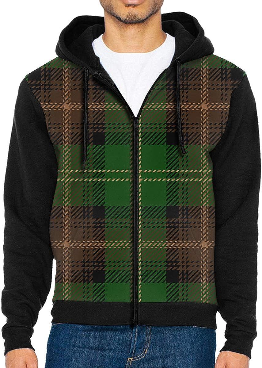 Mens Green Scottish Tartan Plaid 3D Hoodie Full Zip Print Sweatshirts Pullover Casual Pocket Jacket