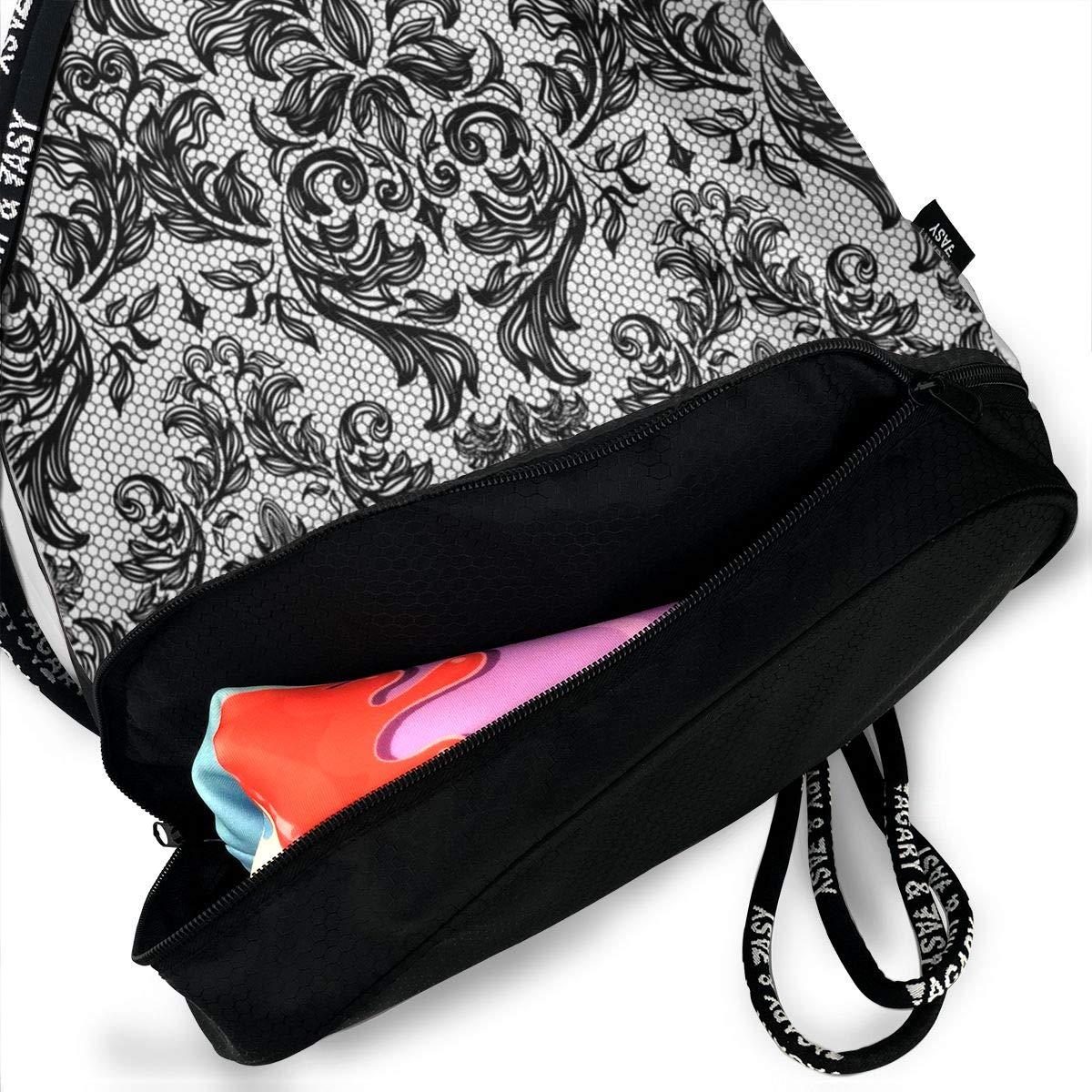 HUOPR5Q Black-Baroque Drawstring Backpack Sport Gym Sack Shoulder Bulk Bag Dance Bag for School Travel
