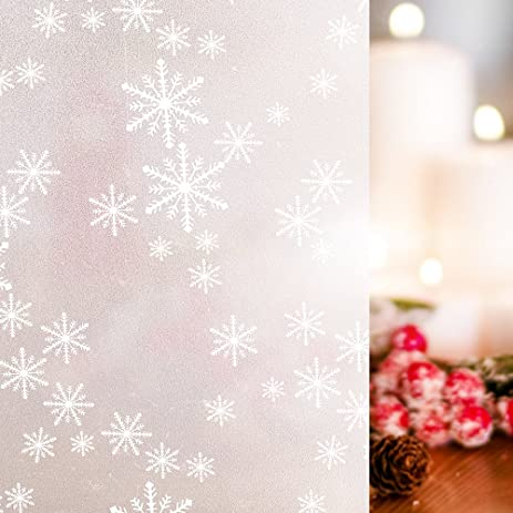 rabbitgoo privacy window film christmas snowflake decorative frosted window cling non adhesive anti uv 354 - Christmas Decorative Window Film