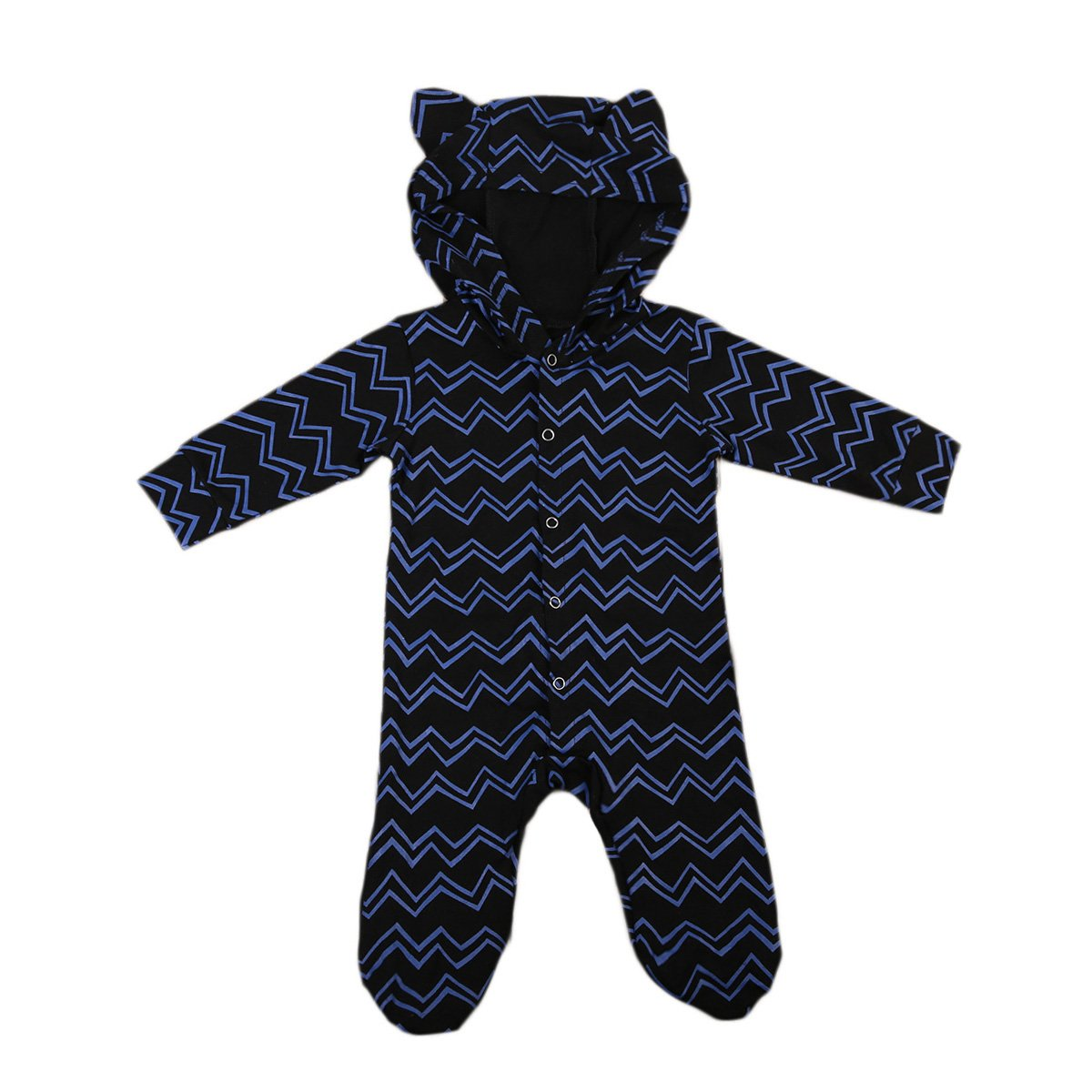 Baby Boy Girl Cute Romper Printed Long Sleeve Footie Coveralls Jumpsuit with Hat ITFABS