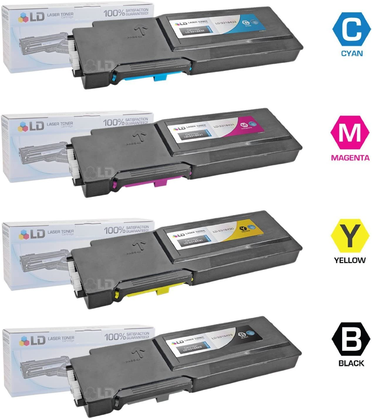 LD Compatible Toner Cartridge Replacements for Dell C3760 C3765 Extra High Yield (1 Black, 1 Cyan, 1 Magenta, 1 Yellow, 4-Pack)
