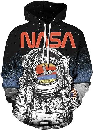 Chaos World NASA Sweat à Capuche Homme Manche Longue 3D Impression Sweat Shirt Automne Hiver