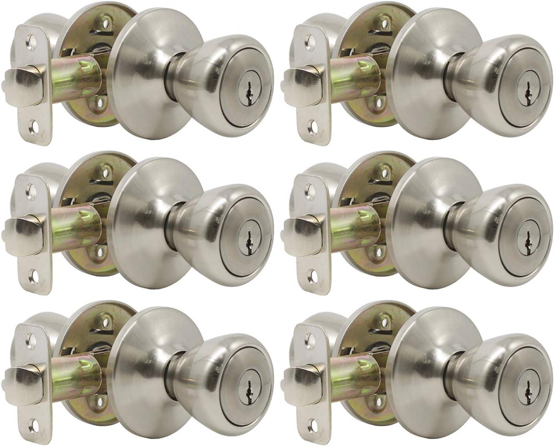 cuarto de ba/ño manija de puerta de seguridad interior para trastero de acero s/ólido dormitorio Pomo de puerta con acabado en n/íquel satinado con forma de bola