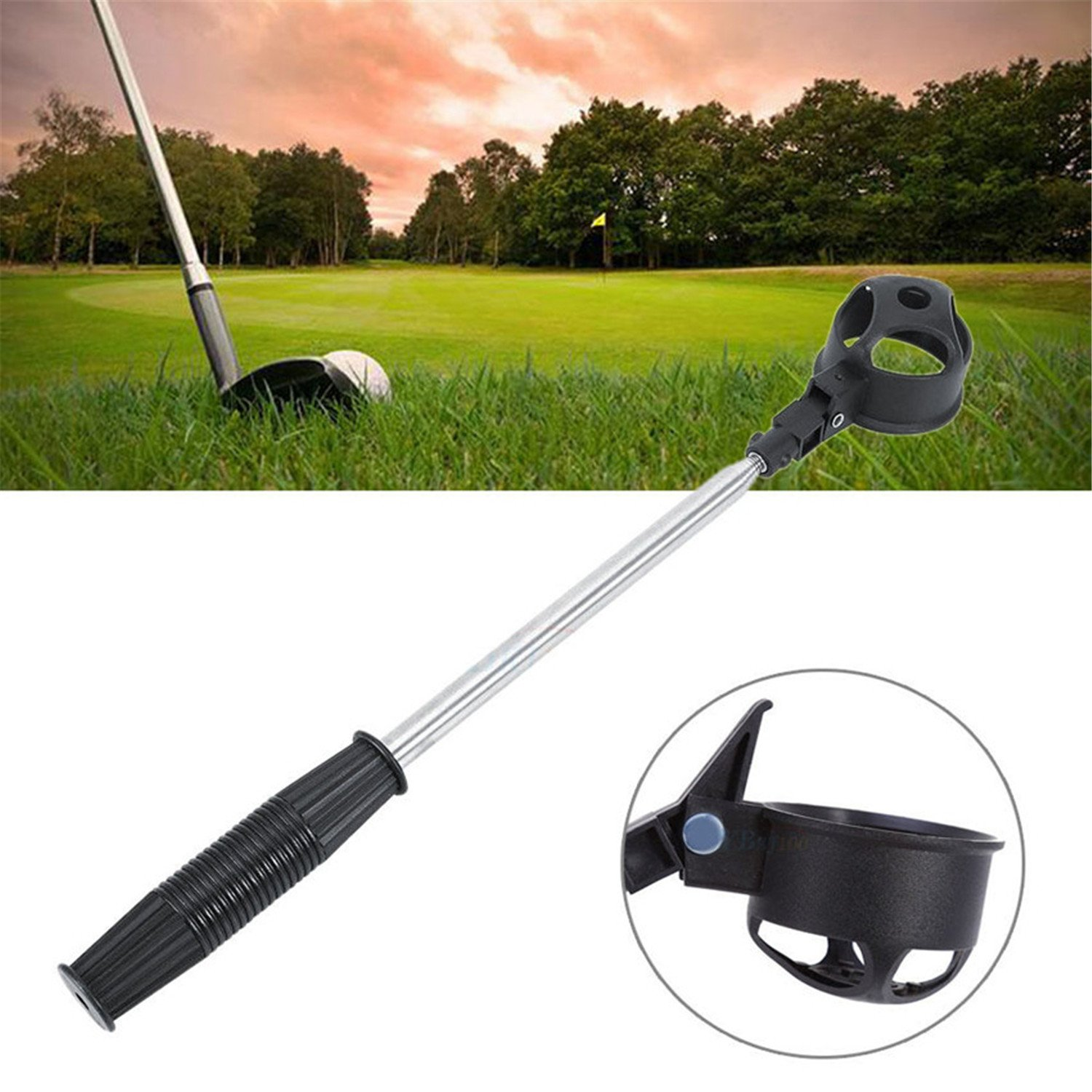 Finger Ten New Golf Ball Retractable Retriever 6.5 Foot/2 metre Telescopic Pick Up Scoop with a Free Golf Ball Wipe Towel Pack   B075FPYLWW