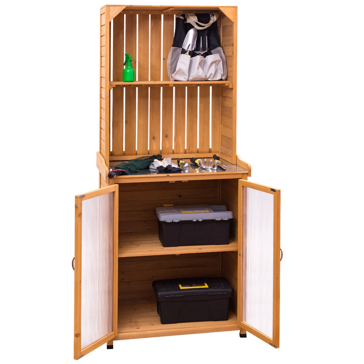 Garden Shed Potting Bench Cabinet Storage Wooden Tools Organizer
