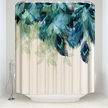 Crystal Emotion Watercolor Decor Shower Curtain Peacock Feather Pattern Waterproof Polyester Fabric Bathroom Curtains Set