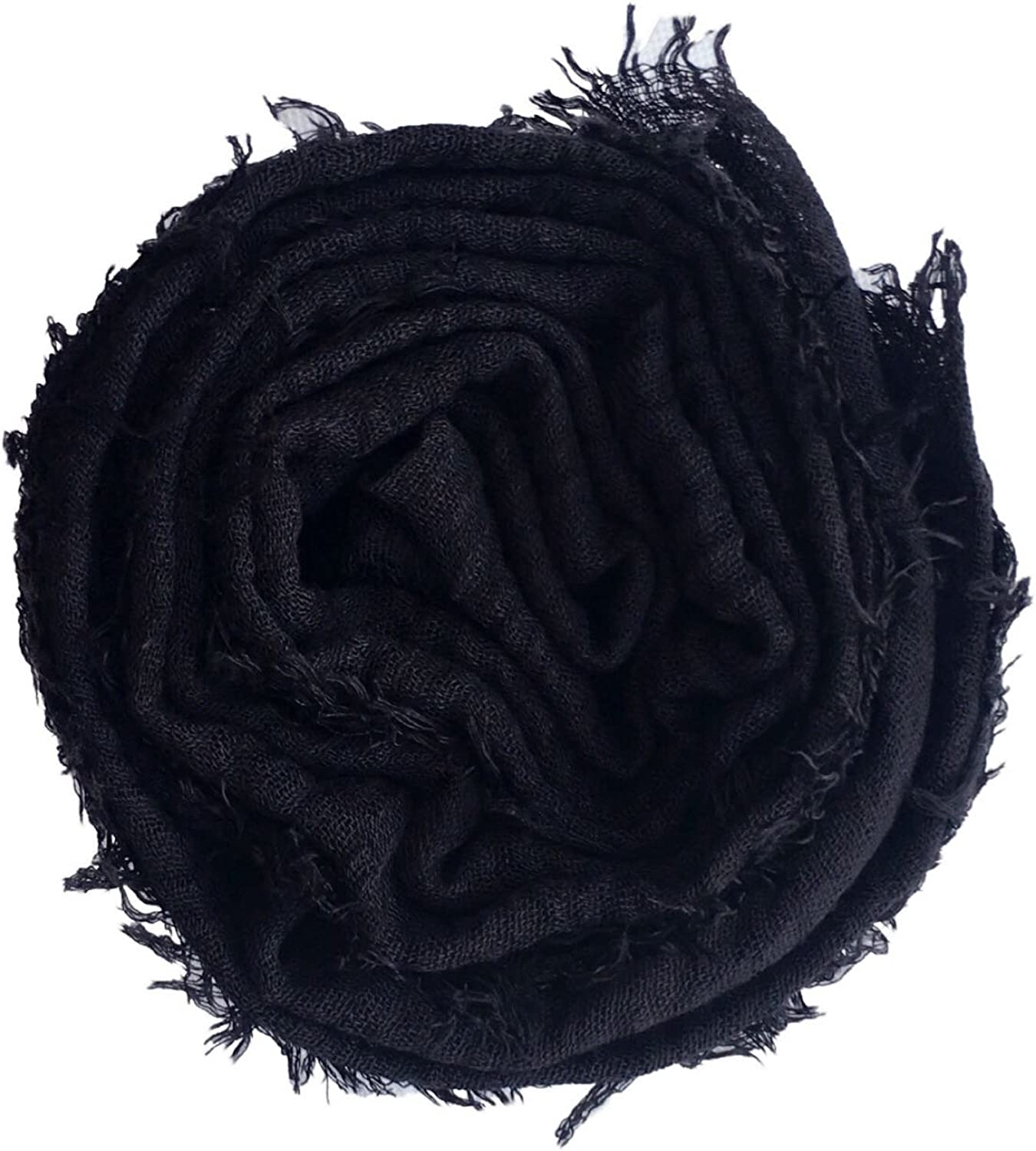 Crimp Frayed Edges Crinkle Maxi Scarf Cotton Hijab Scarves UK