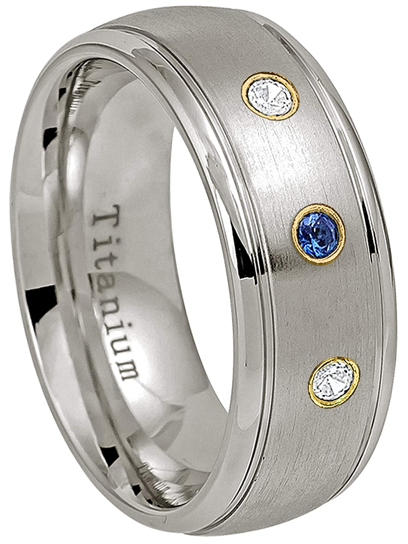 8MM Satin Finish Center Comfort Fit Classic Dome Titanium Wedding Band 0.21ctw Blue Sapphire /& Diamond 3-Stone Titanium Ring