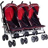 kidz kargo Triplet Buggies Child Baby New-Born Buggy Stroller (Berry Red)