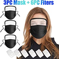 BeAcien 3Pack Solid Color Unisex Adult Face Mask with Transparent Face Shield Goggle, PM2.5 Safety Protective Breahtbale…
