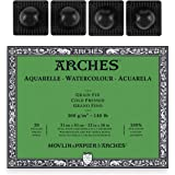 Arches Watercolor Paper Block - Cold Press 140lb - 12x16 - with 4-Pack Upsyde Angle Lifts