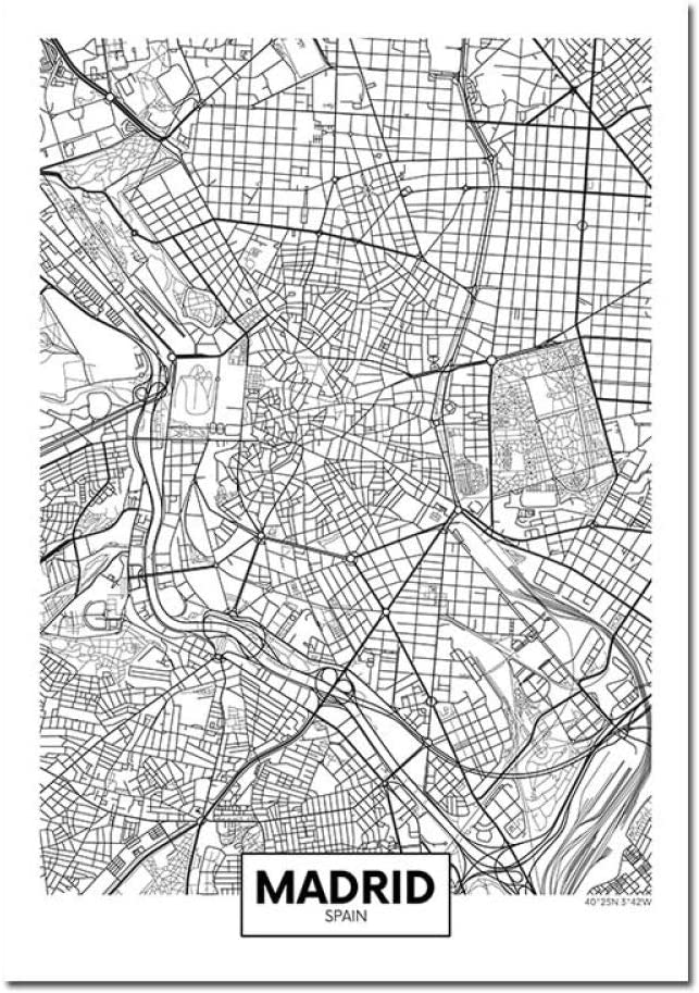 ZWXDMY Impresión De Lienzo,España Madrid, Mapa De La Ciudad De Impresión En Blanco Y Negro Líneas De Texto Simple Póster Lienzo Abstracto Pintura Mural De Café Sin Cerco Tienda De Decoración,40×50 C: