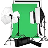 BPS 2500W 5500K Komplettes Profi Fotostudio Studioset Studioleuchte Fotografie Dauerlicht Set inkl.4 Fotolampe + 2 Softbox Set + 2 Schirm + Hintergrund System + Baumwolle Hintergrundstoff(Weiß Schwarz Grün)+ Stativ + Tragtasche