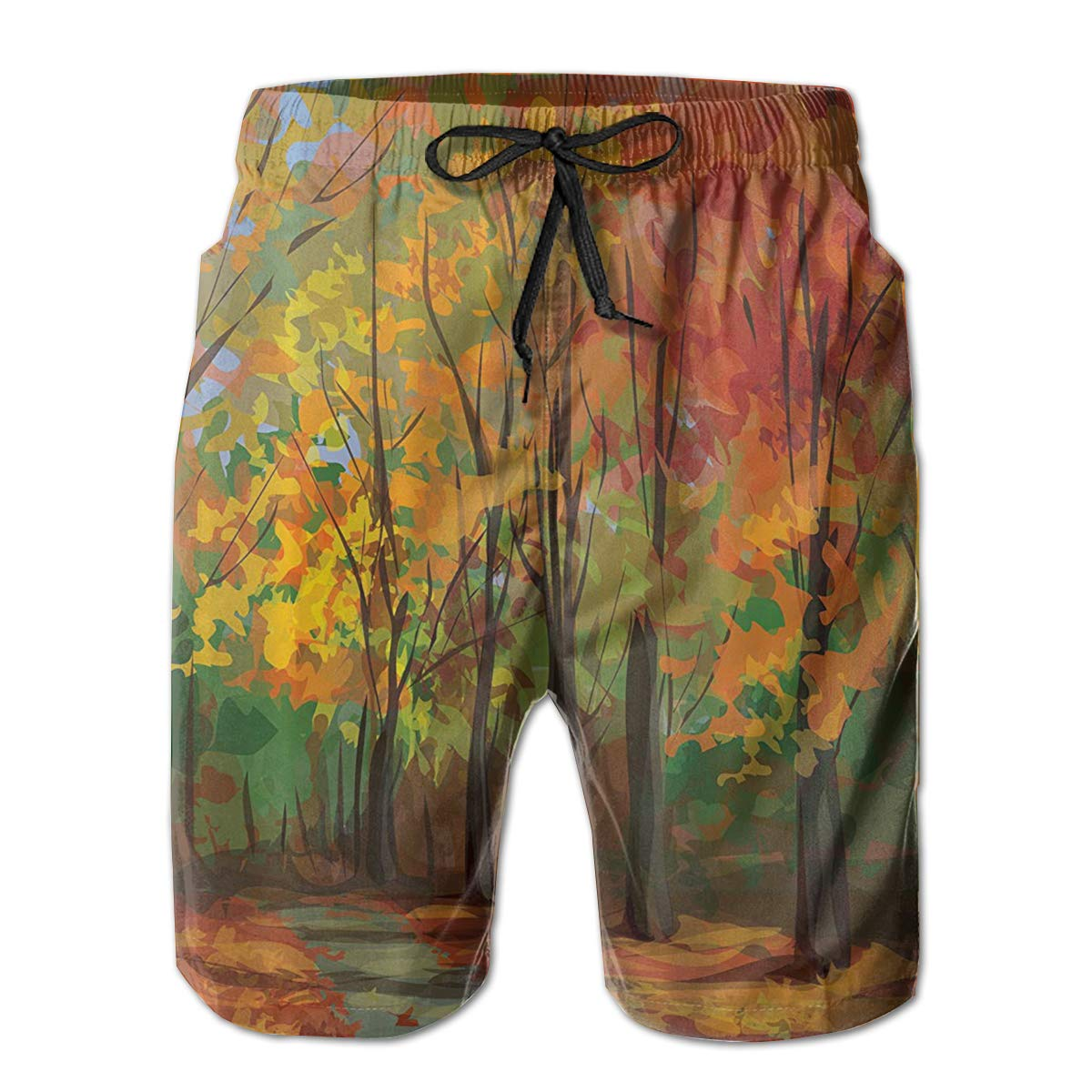 Bilybily Falling Leaves Fall Mens Swim Trunks Quick Dry Board Shorts with Pockets Summer Beach Shorts